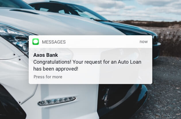 Axos Bank auto loan text message