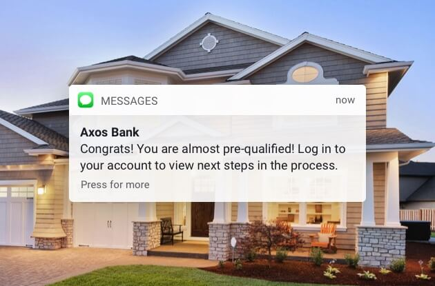 Axos Bank mortgage text message