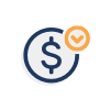 Dollar sign with checkmark icon