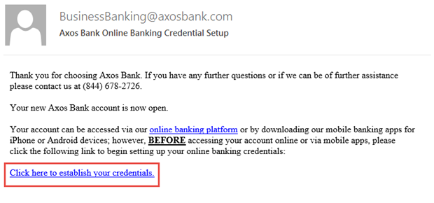 Thank you email from Axos with link to establish your credentials