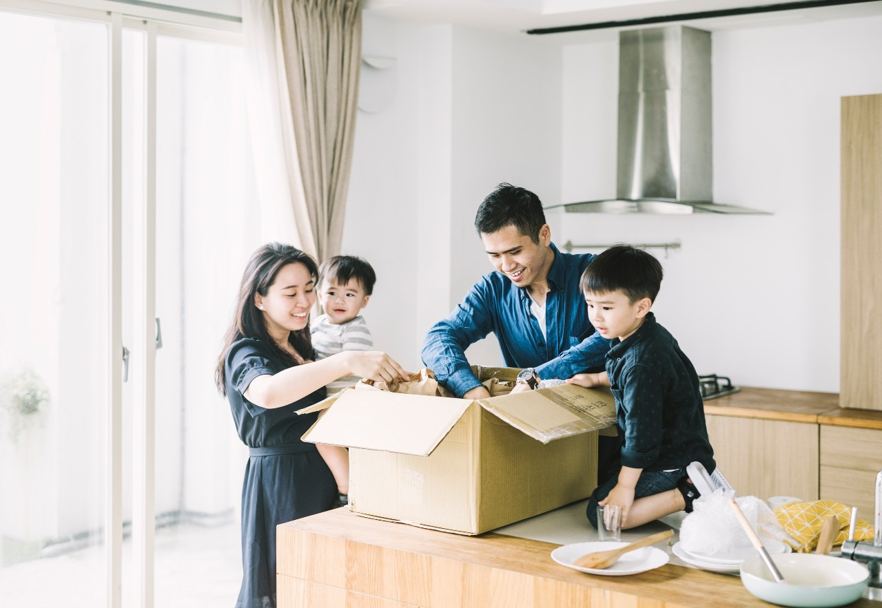 Young family excited about their new home