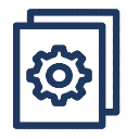 A graphic of a cog on a document