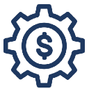 A graphic of a dollar sign surrounded by a cog