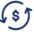 A dollar sign surrounded by two arrows that form a circle