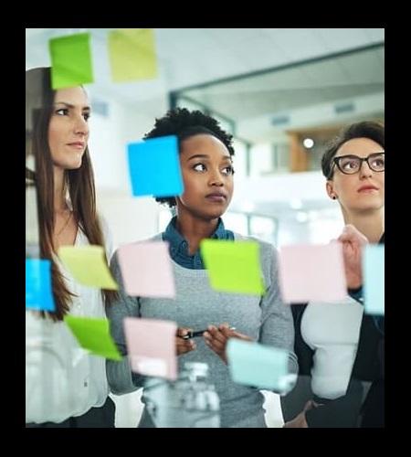 Axos Bank employees brainstorming