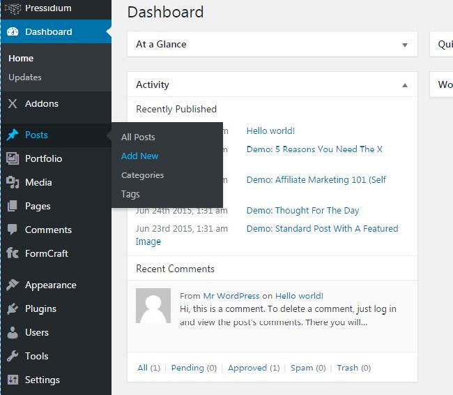 panel screenshot of the WordPress dashboard