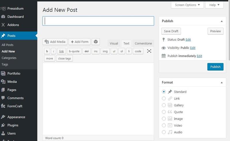panel screenshot of an installed WordPress Posts sidebar