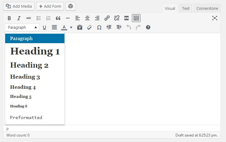 a WordPress panel for editing typography