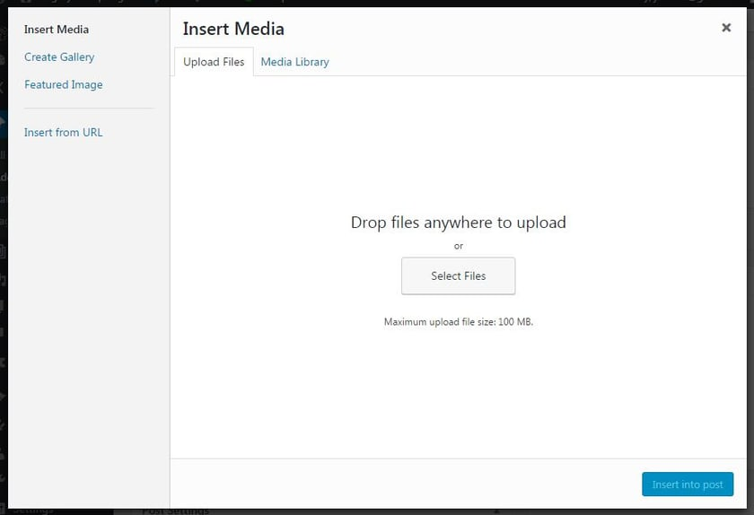 Insert media panel screenshot from WordPress