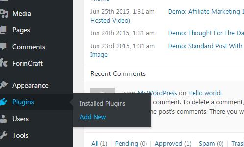 WordPress: Plugins menu