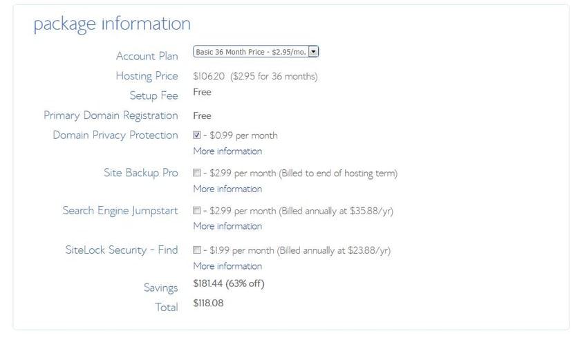 a screenshot of package information during WordPress registration