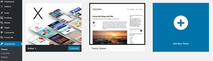 panel screenshot of WordPress Appearance sidebar
