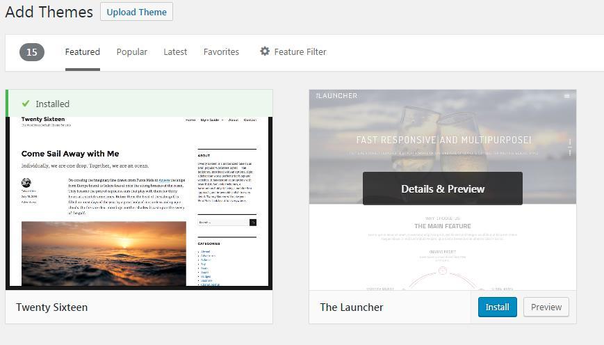 panel screenshot of an installed WordPress theme
